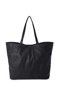 Black leather shopper tote