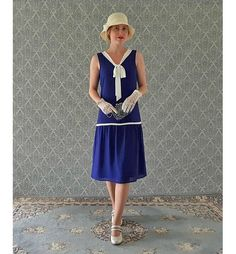 Little nautical flapper dress in dark blue and off white