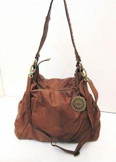 XL-Ugg-Australia-Soft-Brown-Leather-Slouch-Hobo-Shoulder-Crossbody-Bag-Boho-Chic by ixzy