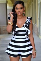 437324cac23 Black White Stripes Ruffle Sliky Romper Black And White Romper