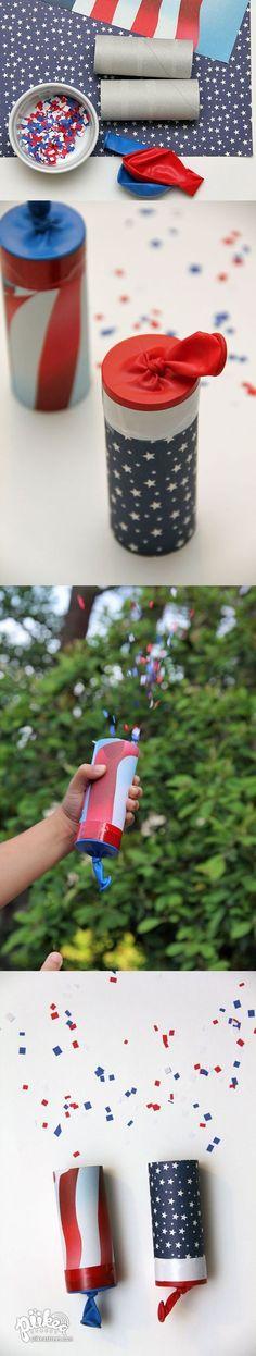 Make a few Confetti Launchers for the 4th of July! An Original #kids #craft by www.piikeastreet.com #piikeastreet