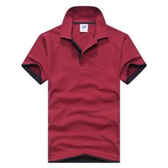 Men Polo Shirt Mens Short-Sleeved Summer Brands Camisa Polo Casual Cotton Polo Shirts Breathable Plus Size Tops Tees Wine red an Polo Tee Shirts, Printed Polo Shirts, Printed Sweatshirts, Cool Shirts, Casual Shirts, Plain White T Shirt, Mens Cotton Shorts, Color Style, Collor