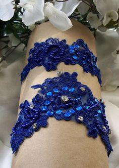 One Garter Royal Garter,wedding Garter,Royal Blue Wedding,Garter Set,Something Blue,Lace Garter,Cobalt Garter Set. $32.00, via Etsy.