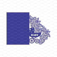 Newborn Card baby carriage buggy flowers lace by EasyCutPrintPD
