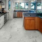 Vinyl self-adhesive floor tiles in fake marble OR fake wood. Ask Sylvie if I can do this. 162 sq ft to cover. Home depot!