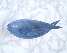 FISH ceramic dish, medium size, matt blue glaze, porcelain soap dish, counter top, bathroom accessory, pisces