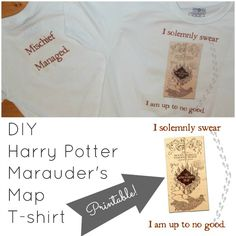 HOW TO: iron on your OWN ideas onto tees using xrox iron on transfers. Great instructions. Frugal Family Times: DIY Harry Potter Marauder's Map T-shirts (with Printable!)
