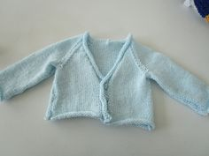 Blue Hand Knitted Baby Cardigan