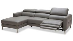 Modern Grey Leather Reno Sectional with Power Recliner Seat | Zuri Furniture
