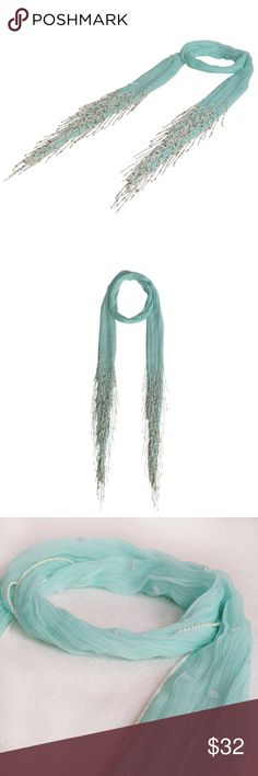 """Beaded SKINNY Chiffon Scarf; Handmade: SEA GREEN It's Back For SPRING  Overview A soft Chiffon skinny scarf with long bead fringes and delicate beads piping / edges; handmade  Product Details STYLE # EB-SCV-1854 PEACH TYPE: SUPER SKINNY MATERIAL: Crinkle Chiffon DIMENSIONS: L 72""""+ Beads x W 2.5"""" WASH CARE: Hand wash only, lay flat to dry These are sold at $ 42 online and in our boutique  Check our other colors too! 7 Artisan Street ® Accessories Scarves & Wraps"""