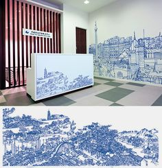 Cyprus based illustrator Abi Daker created this gorgeously detailed wall mural for the Bank of China.