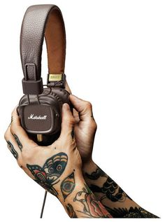 Cool Tattoos, cool headphones. Available on www.thomann.de (headphones ;-)) #Marshall #headphones #tattoo #tattoss #music