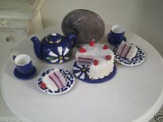 Dollhouse Miniature One Inch Scale Blue White tea set by CSpykersMiniatures