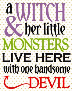 Little Blue House: A Witch and her little Monster...{FREE PRINTABLE}