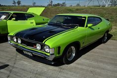 Falcon XA GT Coupe - next to an XA Superbird coupe fords for life Australian Muscle Cars, Aussie Muscle Cars, Best Muscle Cars, American Muscle Cars, Ford Falcon, Mad Max, Ford Girl, Mercury Cars, Ford Lincoln Mercury