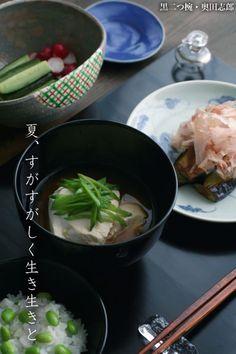 【一汁一菜】お味噌汁中心の食事:すくい豆腐、さやえんどう