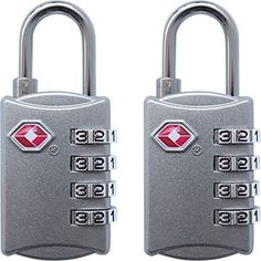 TSA Luggage Locks (2 Pack) - 4 Digit Combination Steel Padlocks - Approved Travel Lock for Suitcases & Baggage - Silver