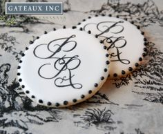 Cookies Monogrammed in Royal Icing with our new Alphabet Mesh Stencils Available HERE:  https://apps.facebook.com/ecwid-shop/store/331154735494