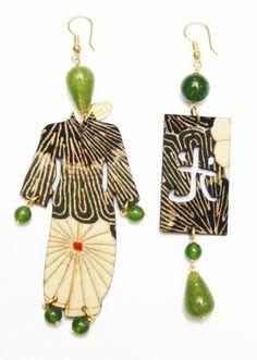 Kimono silk big earrings   Lebole Gioielli