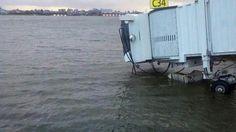 New York LaGuardia airport diring Sandy