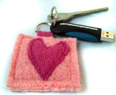 Thumb DriveKey Chain Hand Knit Felted Wool Pink Heart by 4UbyK8, $12.50