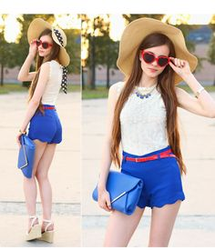 This is Ariadna Majewska's buyer show in OurMall;  #TOP #Lace #SHORT #Clutch #SHOE #WEDGE #HAT #BRACELET #Necklace #BELT #SUNGLASS please click the picture for detail. http://ourmall.com/?iUNbam
