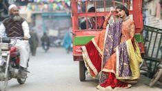 Sharara - orange with purple/yellow dupatta and red velvet pyjama