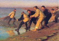 Peder Severin Krøyer (Danish, 1851-1909)   Fishermen hauling nets, North Beach, Skagen, 1883