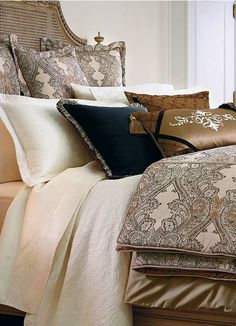 Transform your master suite into a restful haven with the stylish Deveraux Bedding Collection that features a stunning design from neutral scrolling vines with hints of copper to draw attention.