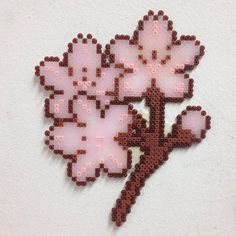 Sakura branch hama mini beads by Todo Pixeles
