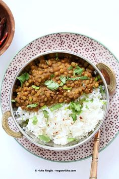 Oil free Lentil Soup. Spicy Garlic Dal - Vegan Richa