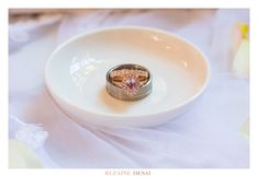 Hers: rose gold and Morganite ring with diamond detailing. His: titanium and rose gold inlay. Diamond Wedding Rings, Bridal Rings, Diamond Rings, Gold Rings, Wedding Band, Rose Gold Ring Set, Rose Gold Morganite Ring, His And Hers Rings, Titanium Rings