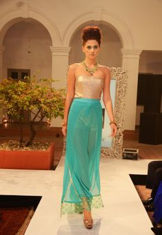 Sea green wrapper-pants with lace-hem (INR 3390) with copper shimmer-sea playsuit (INR 3290).
