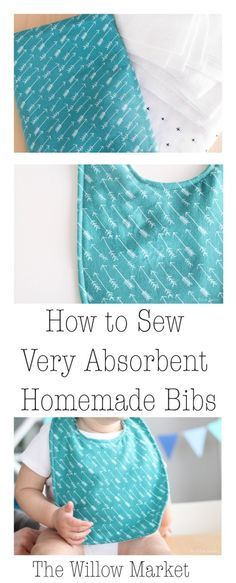 How to sew very absorbent homemade baby bibs.                                                                                                                                                      More