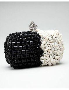 #Valentino two tone box clutch #Black & White