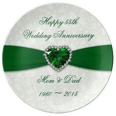 Damask 55th Wedding Anniversary Greeting Card Wedding