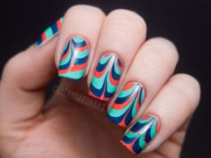 bright marbled nails