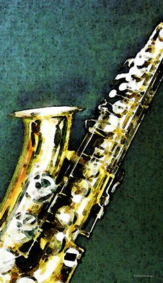 Abstract Saxophone Instrument - Sax 3 Painting by Sharon Cummings - Abstract Saxophone Instrument - Sax 3 Fine Art Prints and Posters for Sale