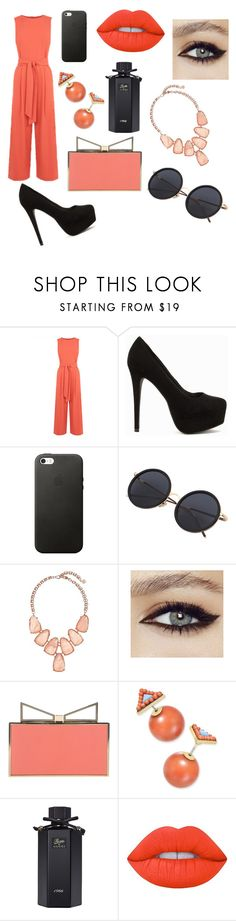 """Untitled #66"" by dahat ❤ liked on Polyvore featuring Warehouse, Nly Shoes, Kendra Scott, Sara Battaglia, Gucci and Lime Crime"