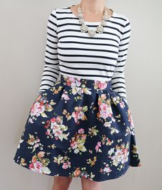 Benevolent Belle Fit and Flare Skirt, striped skirt, crystal juliet necklace, petite fashion blog, spring outfit idea, pattern mixing, stripes and floral outfit, work outfit idea - click the photo for outfit details!