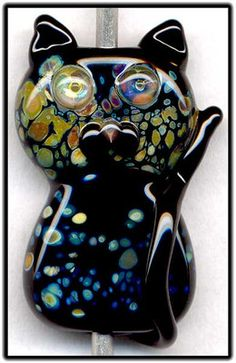 Black Raku Cat ~Collete~Focal Handmade Glass Lampwork Bead Handmade SRA W79