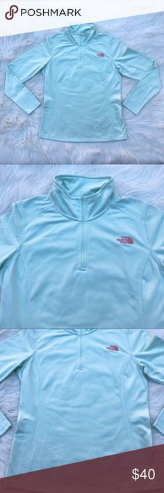 """North Face Tech Glacier 1/4 Zip Up Layer for cool-weather excursions with this midweight fleece pullover that dries quickly and zips at the neck for easy temperature regulation.  Midweight, quarter-zip, smooth-face fleece Active Fit Dries quickly to minimize heat loss Durable, streamlined, quarter-length zipper for venting Modern stitch details on collar  There is a pen mark pictured Otherwise in excellent like new condition This was part of their Spring 2017 releases  Size Medium 24.5"""" long…"""