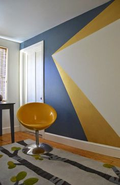 Get decorative wall Painting ideas and creative design tips to colour your interior home walls with Berger Paints. check out Inspirational wall design tip for interior walls. Geometric Wall Paint, Geometric Painting, Modern Wall Paint, Gold Rooms, Gold Walls, Diy Wand, Metal Tree Wall Art, Wall Wood, Bedroom Paint Colors