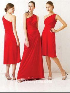 charming red bridesmaid dress