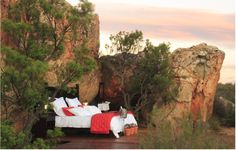 Romantic open air sleep-out at the Kagga Kamma Game Reserve in Cape Town. You even have an open-air bathroom! Air Bed And Breakfast, Cave Hotel, Le Cap, Open Air, Private Games, Sleeping Under The Stars, Holiday Resort, Game Reserve, Africa Travel