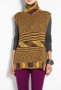 Purple Chunky Knitted Sleeveless Poncho by M Missoni