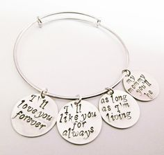 I'll love you forever Hand Stamped Bangle Bracelet by RobertaValle