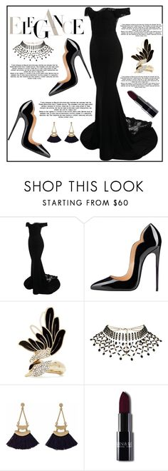"""""""Black Dress"""" by mahiiraa ❤ liked on Polyvore featuring Lanvin and Rosantica"""