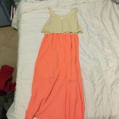 Coral maxi dress Coral maxi dress with a cream top Xhilaration Dresses Maxi