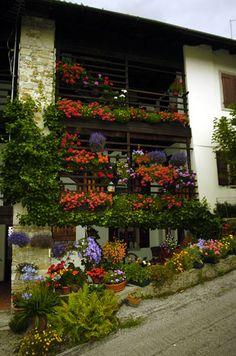 Balconi fioriti a Andreis, Friuli Venezia-Giulia